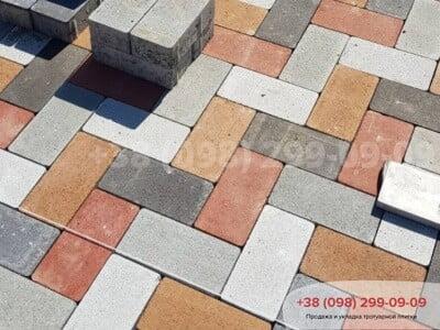 Тротуарная плитка Кирпич без фаски Белыйфото 10