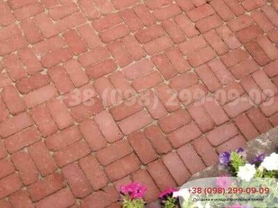 Тротуарная плитка Кирпич 200х100 Антик Бордоваяфото 1
