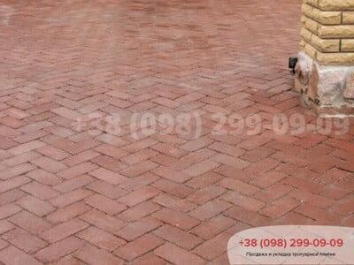 Тротуарная плитка Кирпич 200х100 Антик Бордоваяфото 4