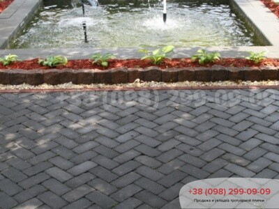 Тротуарная плитка Кирпич 200х100 Антик Черныйфото 3