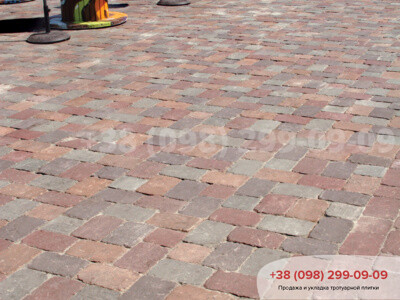 Тротуарная плитка Кирпич Большой Антик 240х160 Бордоваяфото 2