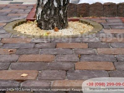 Тротуарная плитка Кирпич 240х160х90 Антик Коричневыйфото 2