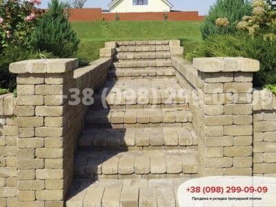 Тротуарная плитка Кирпич 200х100 Антик Горчичнаяфото 3