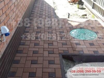 Тротуарная плитка Квадрат 100х100 коричневыйфото 4