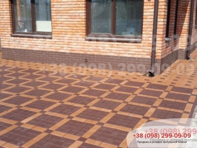 Тротуарная плитка Квадрат 100х100 коричневыйфото 2