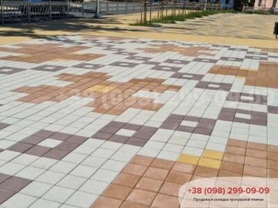 Тротуарная плитка Квадрат 200х200 Персиковаяфото 11