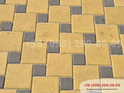 Тротуарная плитка Квадрат 200х200 Желтыйфото 1