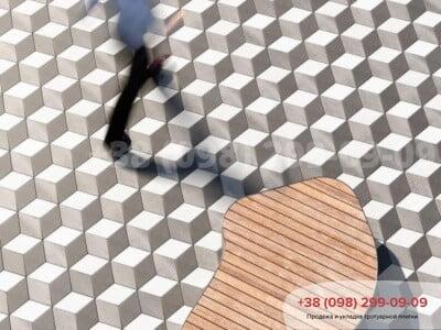 Тротуарная плитка Ромб Белаяфото 3