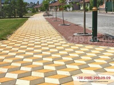 Тротуарная плитка Ромб Белаяфото 1