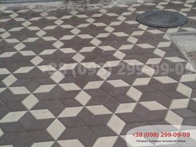 Тротуарная плитка Ромб Белаяфото 4