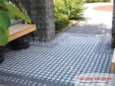Тротуарная плитка Шашка Белаяфото 10