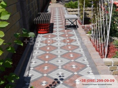 Тротуарная плитка Шашка Белаяфото 5